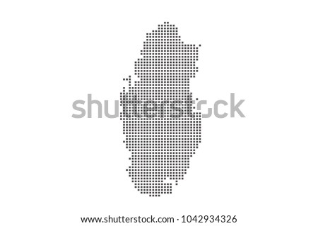 Vector dotted map of Qatar on white background