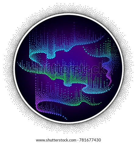 Vector dotted swirls of color northern or polar light on the Polar sky. Round composition with Aurora borealis lights in dotwork style on the night background for arctic space or galaxy design.