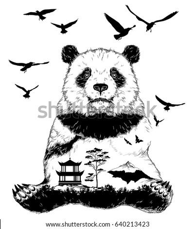 Vector Double exposure, Hand drawn panda bear for your design, wildlife concept