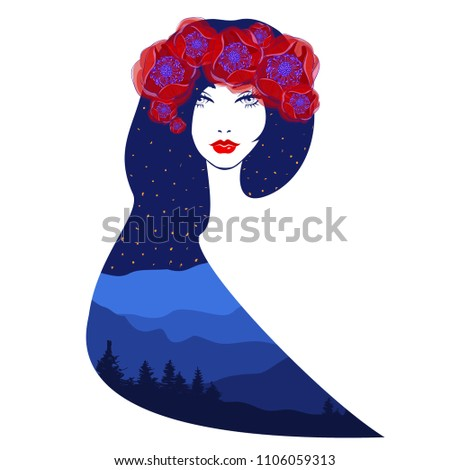 Stock Photo Vector double exposure illustration. Beautiful woman with abstract hairdressing, diadem and wreath from the beautiful red flowers, fluffy eyelashes, red lips, nature background, stars night sky.