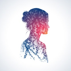 Vector double exposure illustration. Woman silhouette plus abstract nature background