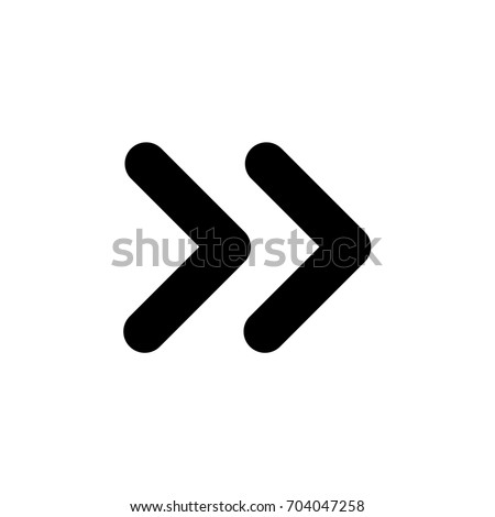 Vector double rounded chevron arrows. Fast forward, skip, next, open, close, sidebar tab icon.