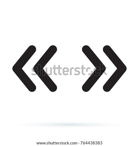 Vector double rounded chevron arrows. Fast forward, skip or next and previous sidebar tab icon. Web Symbol isolated on white background