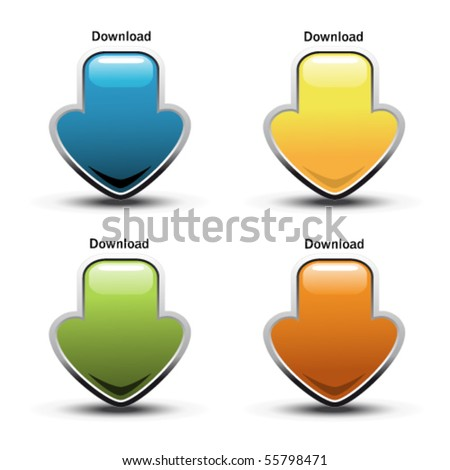 Vector download buttons - stock vector