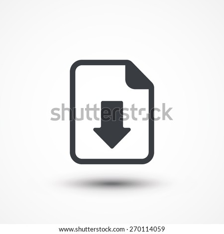 Vector Download Document Icon. Icon download document, pdf file upload, get data sheet, vector arrow.
