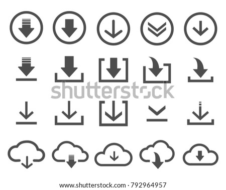 Vector download icon set black on white background