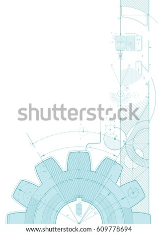 Vector draft background with a gear element. Can be easily colored and used in your design.