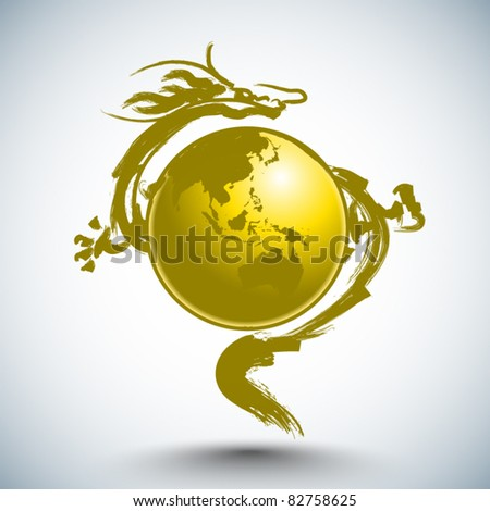 Vector Dragon Surrounds The Globe