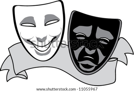 theatre mask clipart. vector drama masks