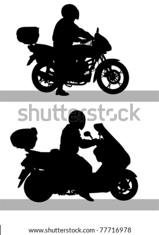 Vector drawing a motorcycle on road