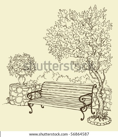 Vector drawing. A quiet romantic corner of the park with a bench under a blooming lilac bush