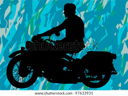 Vector drawing a retro military motorcycle - stock vector