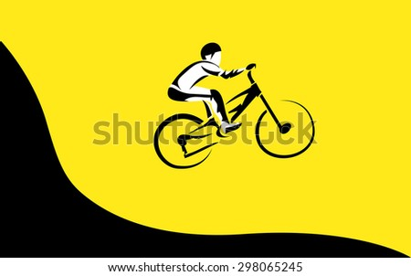 Vector drawing bicycle races. Down hill jumping, extreme sport