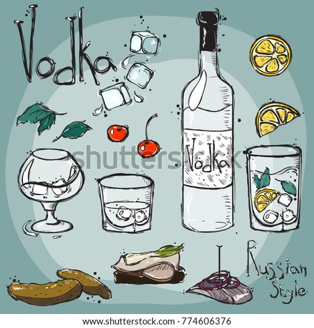 vector drawing by hand bottle