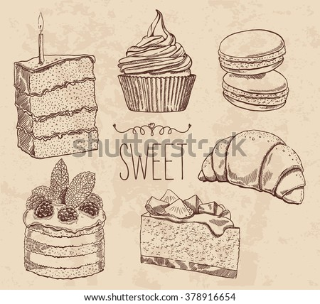 Vector drawing cakes, sweets, bakery, dessert. Vintage style. muffins, macaroon, croissant, cheese cake. Engraving