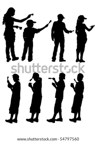 Vector drawing child paint. Silhouette on white background