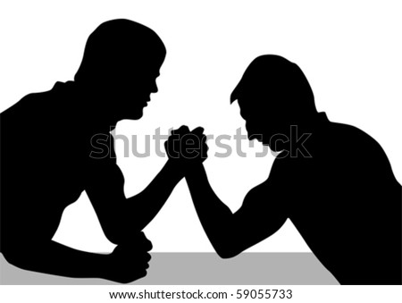 Vector drawing competitions armwrestling. Silhouettes of two men