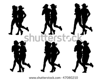 Vector drawing competitions in running. Silhouettes of two girls running