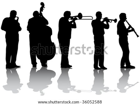Vector drawing concert of jazz music silhouettes on a white