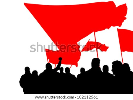 Vector drawing crowds with banners and flags