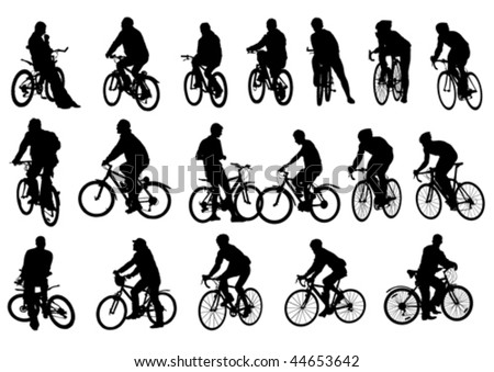 Vector drawing cyclists. Silhouettes on white background