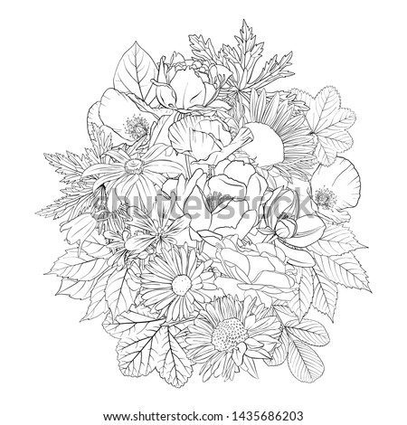 vector drawing flowers, decorative rosette, stylized designtemplate, isolated floral element, hand drawn botanical illustration,coloring page #1435686203