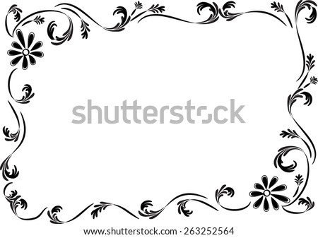 Vector Drawing Flowers With Frame In Black And White Ez Canvas
