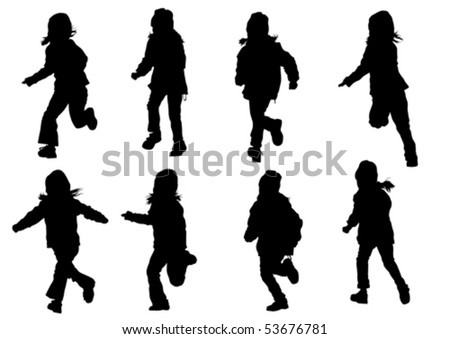 Vector drawing girl in motion. Silhouette on white background