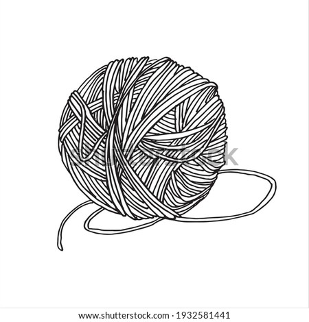 vector drawing in the style of doodle. a ball of yarn for knitting. a ball of woolen thread is a symbol of needlework, hobby, knitting and crocheting. the logo Stock photo ©