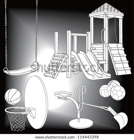 Vector drawing items about kid - detailed vector
