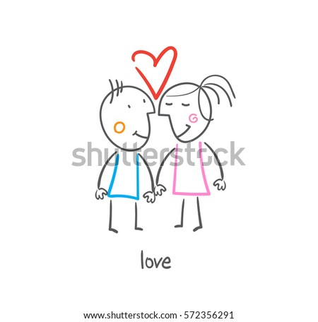 vector drawing love lovers