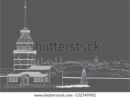 Vector drawing Maiden's Tower in Istanbul