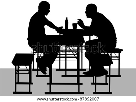 Vector drawing mans to table in cafe