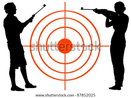 Vector drawing men and women with guns
