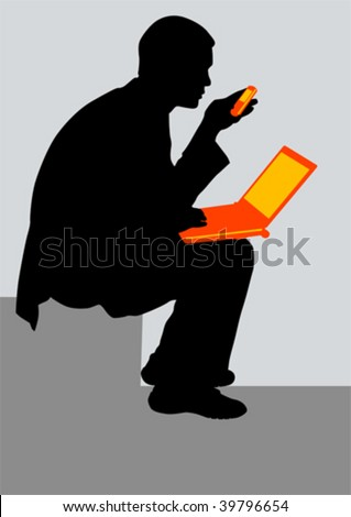 Vector drawing men in the workplace with a phone and a laptop in the hands of