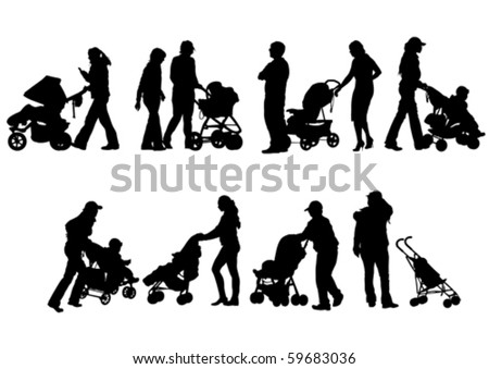 Vector drawing mom with children and pram