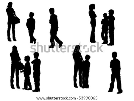 Vector drawing mother and children. Silhouettes on white background