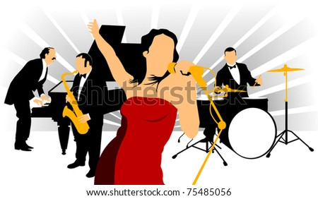 Vector drawing music jazz orchestra. Artists on stage;