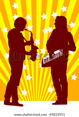 Vector drawing musicians from the saxophone and piano
