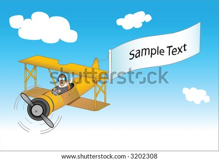 vector drawing of a african american pilot in a bi-plane trailing a message