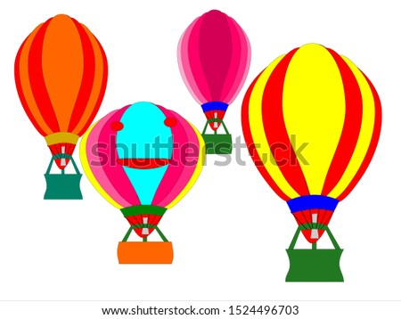 Vector drawing of a balloon floating in the sky many sizes many colors
