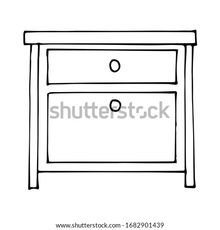 vector drawing of a bedside