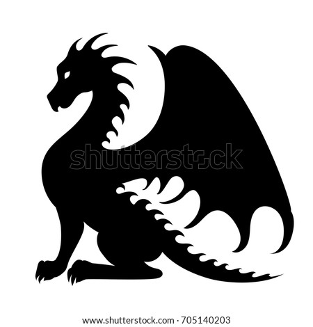 Vector drawing of a black dragon silhouette that sits