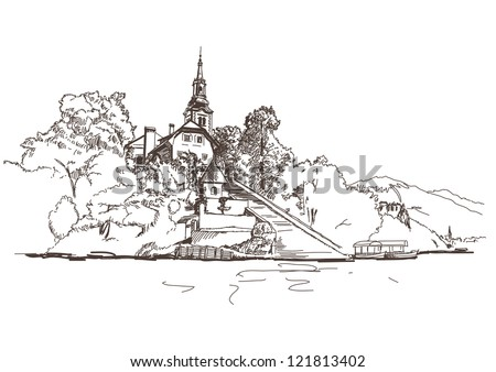 vector drawing of a church on