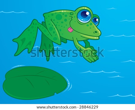 Cute Frogs On Lily Pads