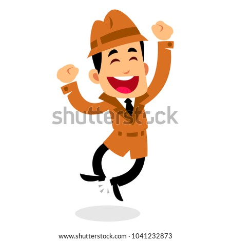 Vector drawing of a detective, he is jumping, happy