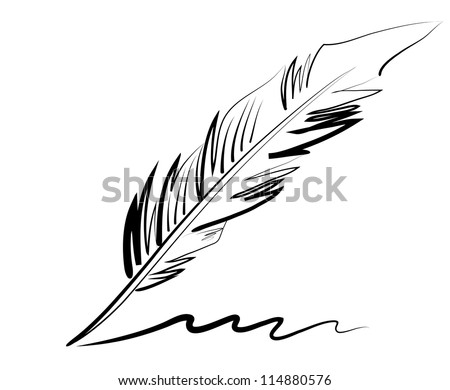 vector drawing of a goose quill