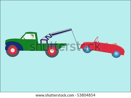 Vector drawing of a green towtruck with a red convertible in tow.