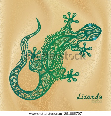 vector drawing of a lizard with