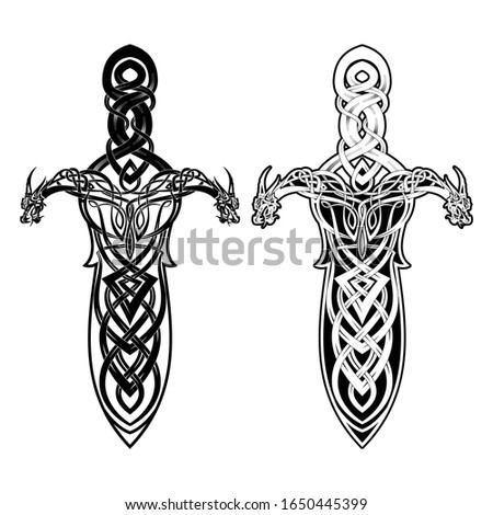 Vector drawing of a magical Viking sword. Blade made of traditional Celtic ornament. Sacred weapon of Normans. stock photo